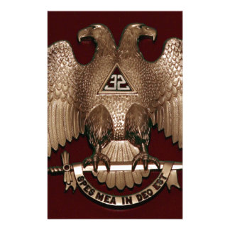 Scottish Rite 32 degree Mason Double Eagle Red Stationery Paper