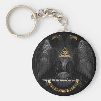 Scottish Rite 32 Degree Mason Eagle Basic Round Button Keychain