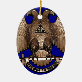 Scottish Rite 32 Degree Royal Blue Double-Sided Oval Ceramic Christmas Ornament