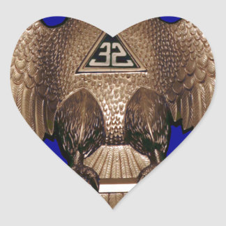 Scottish Rite 32 Degree Royal Blue Heart Stickers