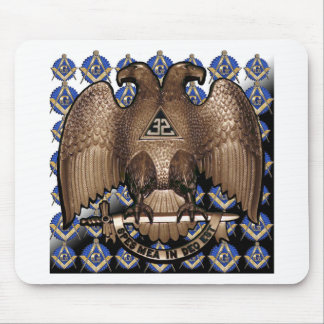 Scottish Rite Square & Compass Black White Diagona Mouse Pad