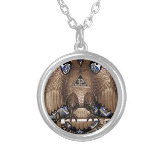 Scottish Rite Square & Compass Black White Diagona Silver Plated Necklace