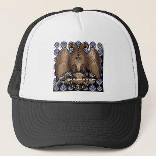a6c041545d68f4 Scottish Rite Square & Compass Black White Diagona Trucker Hat