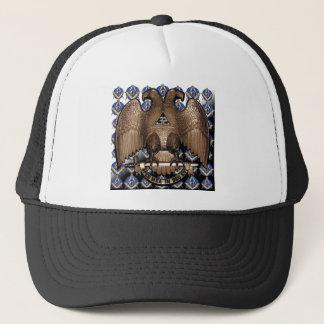 Scottish Rite Square & Compass Black White Diagona Trucker Hat