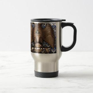 Scottish Rite Square & Compass Black & White Travel Mug