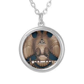 Scottish Rite Teal 32 Degree Silver Plated Necklace