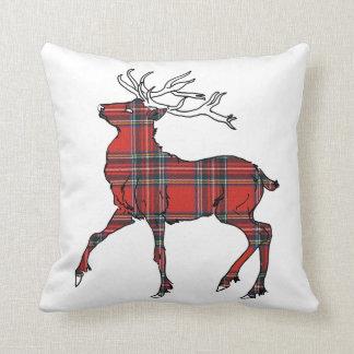 Scottish (Royal Stewart) Tartan Stag Cushion Throw Pillow