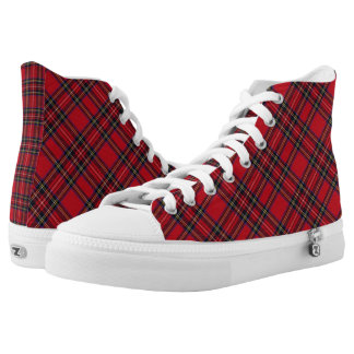 Scottish Royal Stuart Tartan Plaid High-Top Sneakers