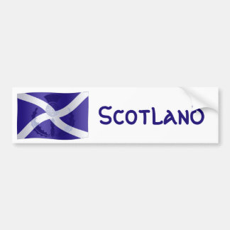Scottish Saltire Flag with Celtic Knot Thistle Bumper Sticker