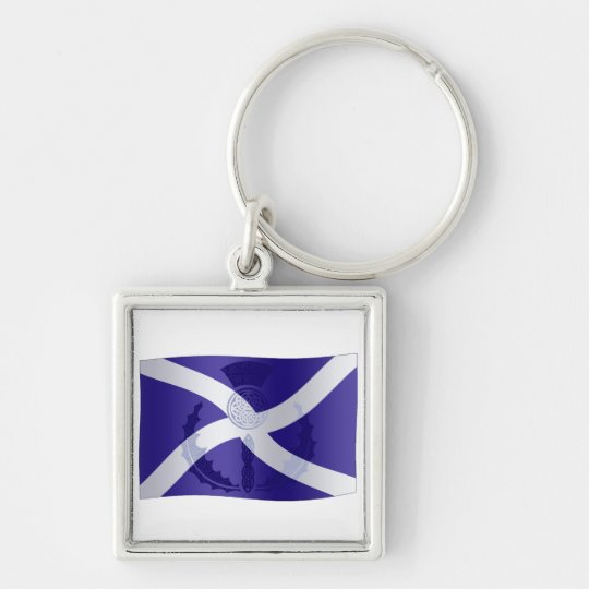 Scottish Saltire Flag with Celtic Knot Thistle Keychain