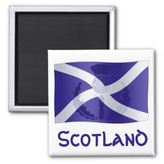 Scottish Saltire Flag with Celtic Knot Thistle 2 Inch Square Magnet