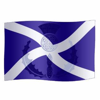 Scottish Saltire Flag with Celtic Knot Thistle Standing Photo Sculpture