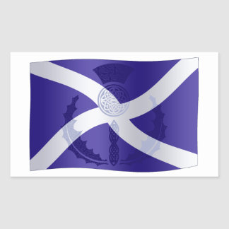 Scottish Saltire Flag with Celtic Knot Thistle Rectangular Sticker