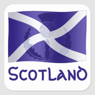Scottish Saltire Flag with Celtic Knot Thistle Square Sticker