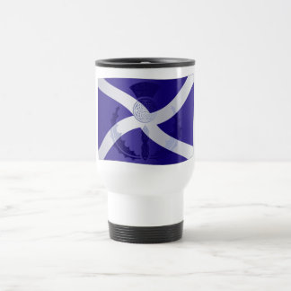 Scottish Saltire Flag with Celtic Knot Thistle Travel Mug