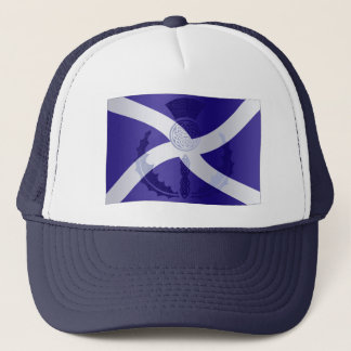 Scottish Saltire Flag with Celtic Knot Thistle Trucker Hat