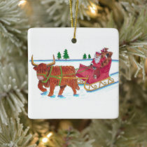 Scottish Santa with Highland Cow pulling sleigh Ceramic Ornament