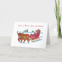 Scottish Santa with Highland Cow pulling sleigh Holiday Card