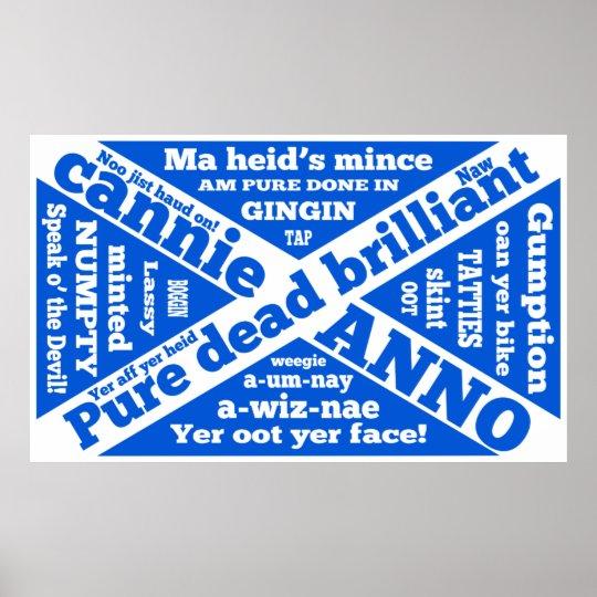 Scottish slang and jargon on Scottish flag Poster