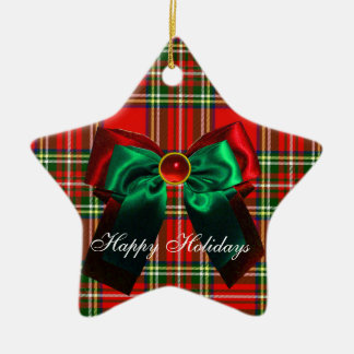 SCOTTISH TARTAN AND RED GREEN CHRISTMAS BOWS STAR Double-Sided STAR CERAMIC CHRISTMAS ORNAMENT