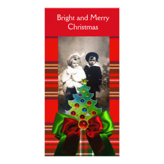 SCOTTISH TARTAN,CHRISTMAS TREE AND RED GREEN BOWS CARD