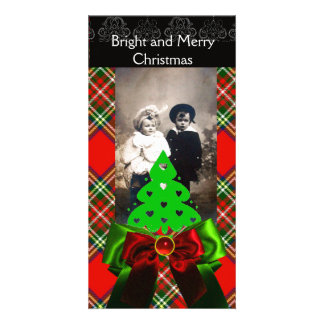 SCOTTISH TARTAN,CHRISTMAS TREE AND RED GREEN BOWS PHOTO CARD