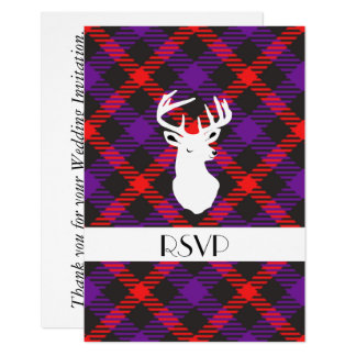 Scottish Tartan Clan Paid Purple Orange Patterned Card
