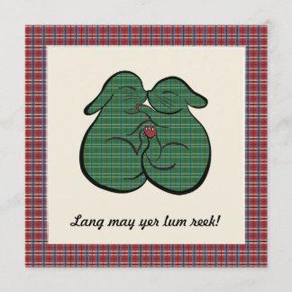 Scottish TARTAN Cuddling Bunnies – Easter, Wedding Holiday Card