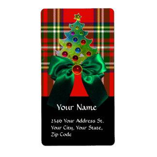 SCOTTISH TARTAN ,GREEN BOW AND CHRISTMAS TREE LABEL