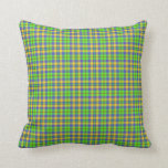 Scottish Tartan Plaid, apple green, gold and blue Throw Pillow