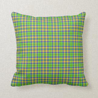 Scottish Tartan Plaid, apple green, gold and blue Throw Pillow