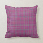Scottish Tartan Plaid, pink checks cyan details Pillow