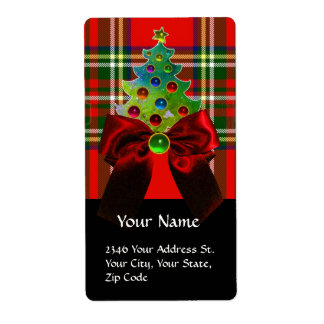 SCOTTISH TARTAN ,RED BOW AND CHRISTMAS TREE LABEL