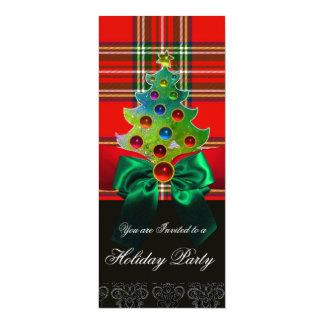 SCOTTISH TARTAN ,RED GREEN BOWS AND CHRISTMAS TREE CARD