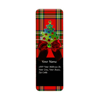 SCOTTISH TARTAN ,RED GREEN BOWS AND CHRISTMAS TREE LABEL