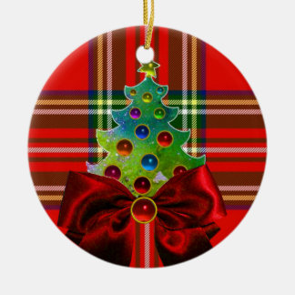 SCOTTISH TARTAN ,RED GREEN BOWS AND CHRISTMAS TREE Double-Sided CERAMIC ROUND CHRISTMAS ORNAMENT