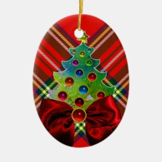 SCOTTISH TARTAN ,RED GREEN BOWS AND CHRISTMAS TREE Double-Sided OVAL CERAMIC CHRISTMAS ORNAMENT