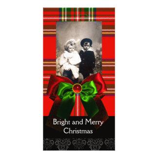SCOTTISH TARTAN,RED GREEN BOWS XMAS PHOTO TEMPLATE PHOTO CARD