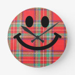 Scottish Tartan Smiley Clock