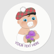 Scottish Tartan |Thistle Baby Shower Personalized Classic Round Sticker
