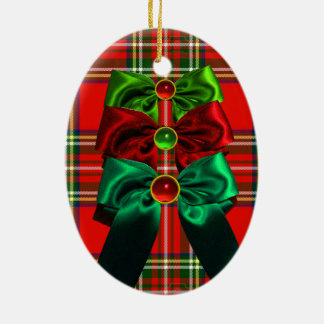 SCOTTISH TARTAN WITH RED GREEN CHRISTMAS BOWS CERAMIC ORNAMENT