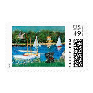 Scottish Terrier 12 - Sailboats Postage