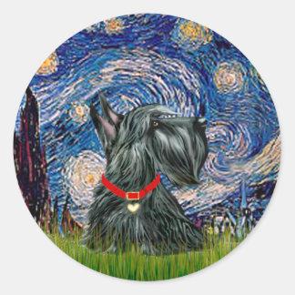 Scottish Terrier 12c -Starry Night Classic Round Sticker