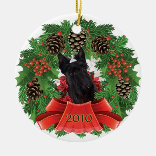 Scottish Terrier 2010 Christmas Holiday Wreath Ornaments