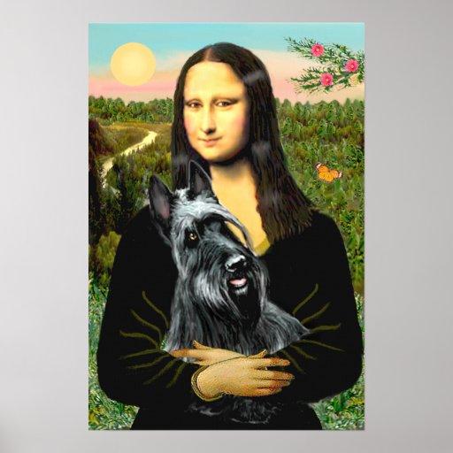 Scottish Terrier 3 - Mona Lisa Poster