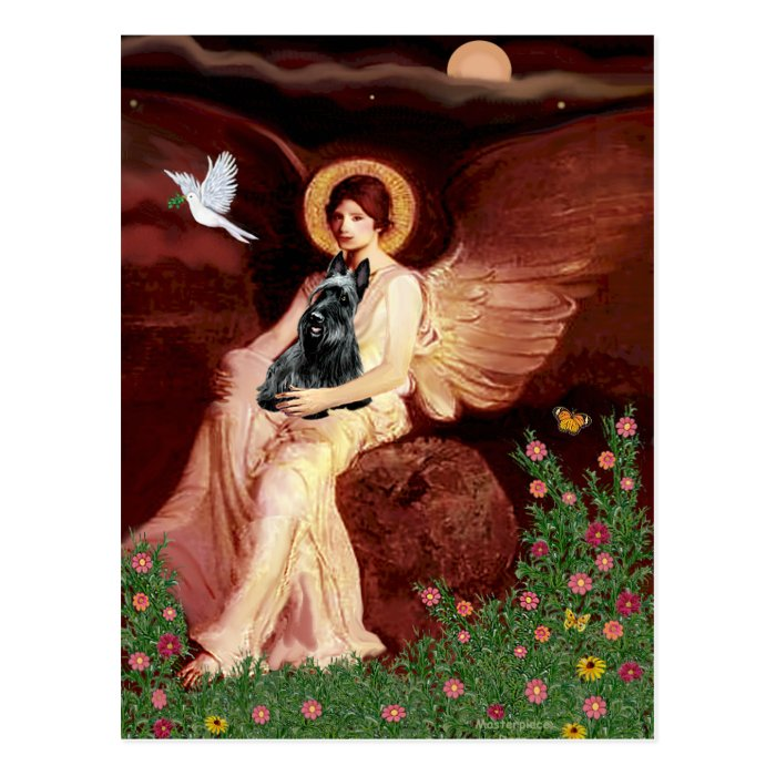Scottish Terrier 3 - Seated Angel Postcard