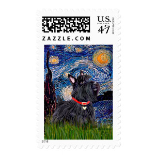 Scottish Terrier 6 - Starry Night (Vertical) Postage