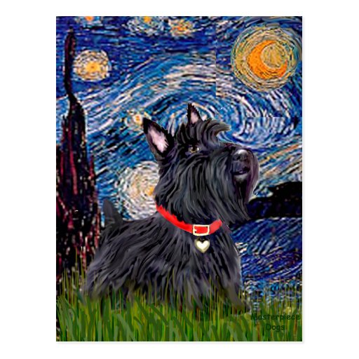 Scottish Terrier 6 - Starry Night (Vertical) Postcard