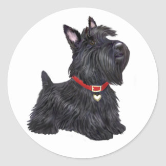 Scottish Terrier (A) - (by JBF) Classic Round Sticker