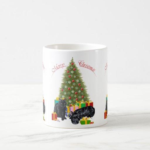 Scottish Terrier and Kitty Christmas Mug